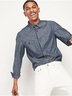 Oldnavy Regular-Fit Chambray Workwear Shirt for Men