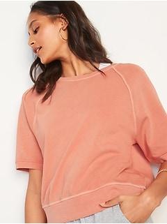 Vintage Garment-Dyed Elbow-Sleeve Sweatshirt