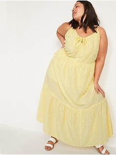 Tiered Embroidered Maxi Swing Plus-Size Sundress