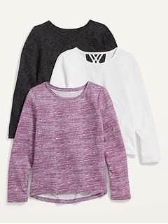 Oldnavy Softest Long-Sleeve Lattice-Back T-Shirt 3-Pack for Girls