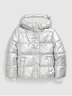 갭 걸즈 푸퍼 자켓 GAP Kids ColdControl Ultra Max Puffer Jacket,silver metallic