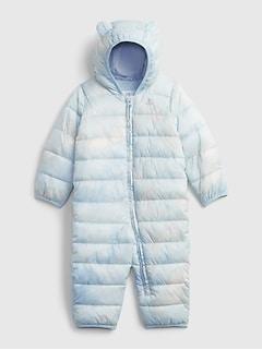 갭 여아용 푸퍼 우주복 GAP Baby ColdControl Puffer One-Piece,ice blue
