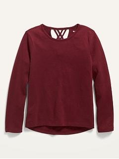 Oldnavy Softest Long-Sleeve Lattice-Back T-Shirt for Girls
