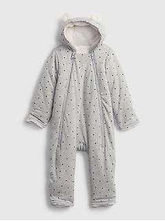 갭 여아용 우주복 GAP Baby Hoodie Sherpa-Lined One-Piece,medium grey heather