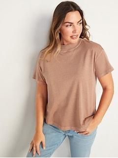 Oldnavy Garment-Dyed Mock-Neck Easy T-Shirt for Women