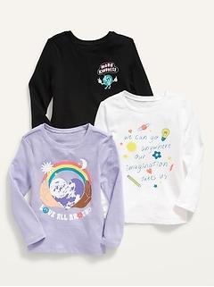 Oldnavy Unisex 3-Pack Graphic Long-Sleeve T-Shirt for Toddler