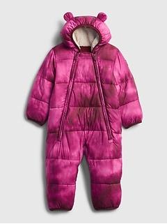 갭 여아용 푸퍼 우주복 GAP Baby 100% Recycled Polyester ColdControl Max Puffer One-Piece,happy pink