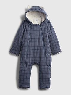 갭 여아용 우주복 GAP Baby Hoodie Sherpa-Lined One-Piece,blue heather