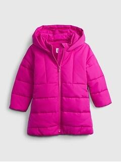 갭 여아용 푸퍼 코트 GAP Toddler Hooded Dolman Puffer,hot magenta pink