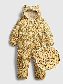 갭 여아용 푸퍼 우주복 GAP Baby 100% Recycled Polyester ColdControl Max Puffer One-Piece,wheat gold