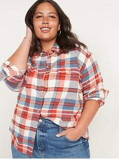 Oldnavy Oversized Plaid Flannel Boyfriend Tunic Shirt for Women